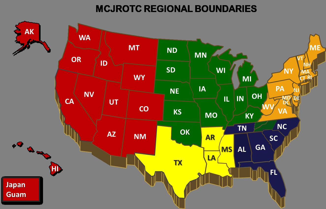 Regional Map - Marine Corps Junior ROTC